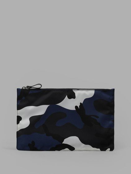 VALENTINO Valentino Blue Army Camouflage Pouch. #valentino #clutches & pouches