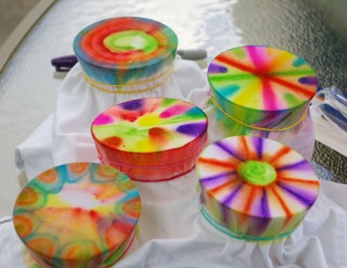 Tye Dye with Sharpies and rubbing alcohol.