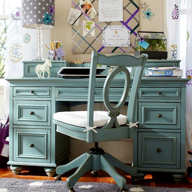 love the color of this desk and chair...think maybe I'll do this with grandma's little pine desk and one of those crazy mahogany chairs I have...
