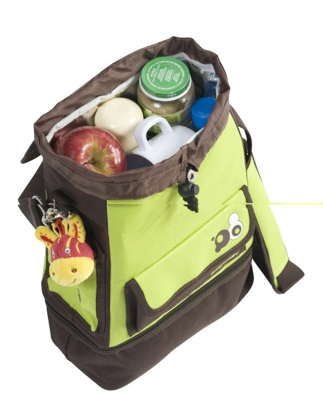 Babymoov Free Hand Food Bag Chocolate Green - An adaptable and useful bag! Dual Function: food bag or backpack Expandable insulated bag Removable bottom part 2 external storage pockets Bib included Comfortable and adjustable shoulder straps/ carry handle.