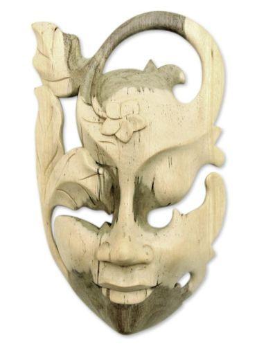 Hibiscus Wood Mask Wall Sculpture Surreal 'Frangipani Flower Woman' NOVICA Bali