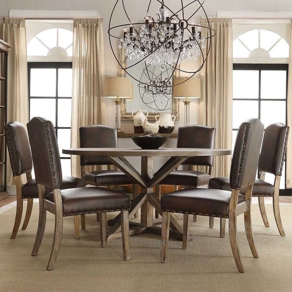 SIGNAL HILLS Benchwright Rustic X Base Round Pine Wood Nailhead 7 Piece  Dining Set