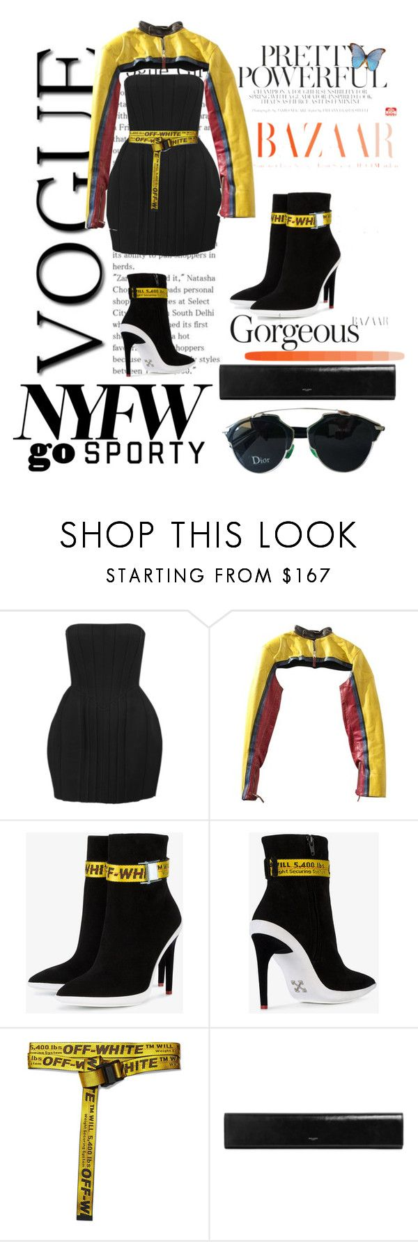 """""""NYFW"""" by renny-ren ❤ liked on Polyvore featuring Balmain, Jean-Paul Gaultier, Off-White, Yves Saint Laurent and Christian Dior"""