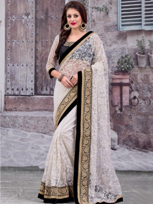 White Net Saree with Embroidery Work