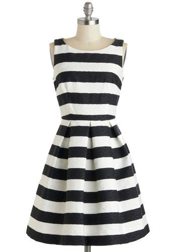 An Elegant Edge Dress - Mid-length, Black, White, Pockets, Party, A-line, Sleeveless, Stripes, Wedding, Fit & Flare, Boat