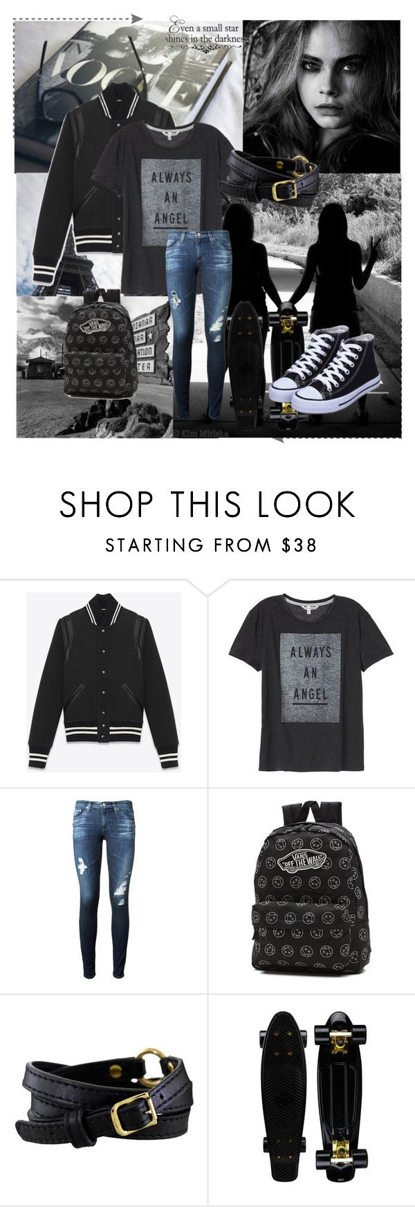 """""""Skater Chic"""" by inspiration-center ❤ liked on Polyvore featuring Yves Saint Laurent, AG Adriano Goldschmied, Vans, Pacha and WALL"""