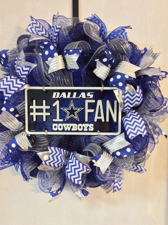 Dallas Cowboys Wreath-Dallas Cowboys-Dallas Cowboys Deco Mesh