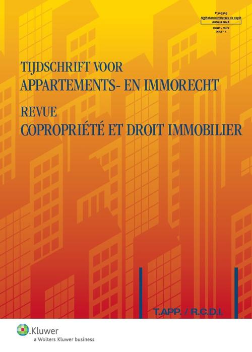 Tijdschrift voor appartements- en immorecht/ Revue copropriété et droit immobilier. Plaats: 34