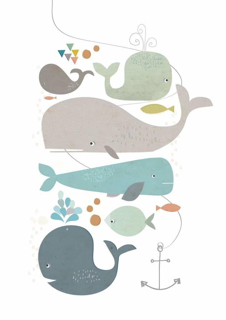 Paper Moon poster Happy WhalesMooie poster van Paper Moon. Op de poster staat een afbeelding van blije walvissen. Een print met een prachtige afbeelding. materiaal: papier kleur: multi colour afmeting: A3 (30 x 40 cm.)