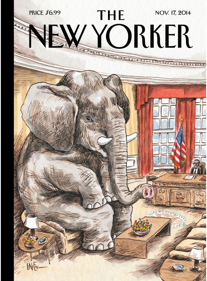 """The artist Liniers comments on this week's cover, """"The Elephant in the Room"""": http://nyr.kr/1z6i23R"""