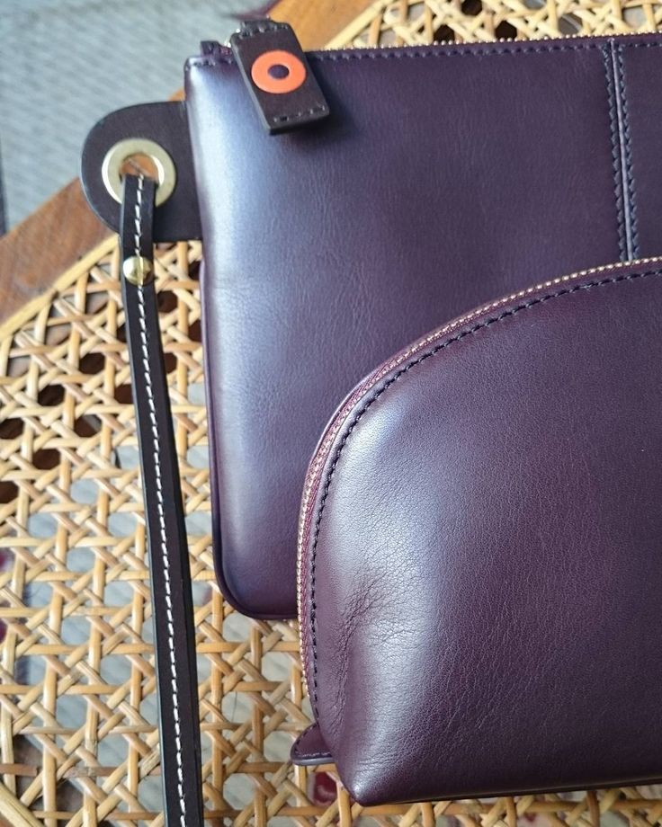 """""""Cosmetic pouch & Wristlet bag in our beautiful plum leather"""""""