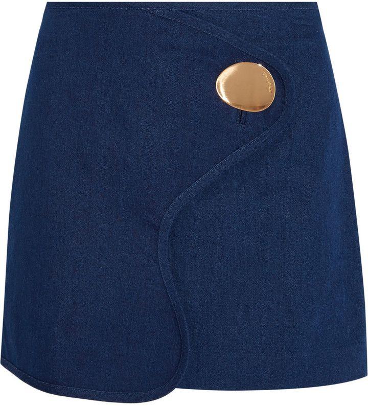 Opening Ceremony Embellished Wrap-Effect Denim Mini Skirt