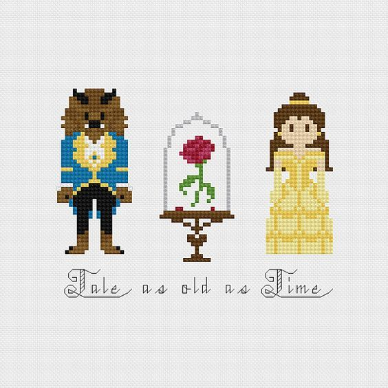 beauty and the beast cross stitch patterns | Disney Beauty & the Beast Tale As Old As Time Rose inspired cross ...