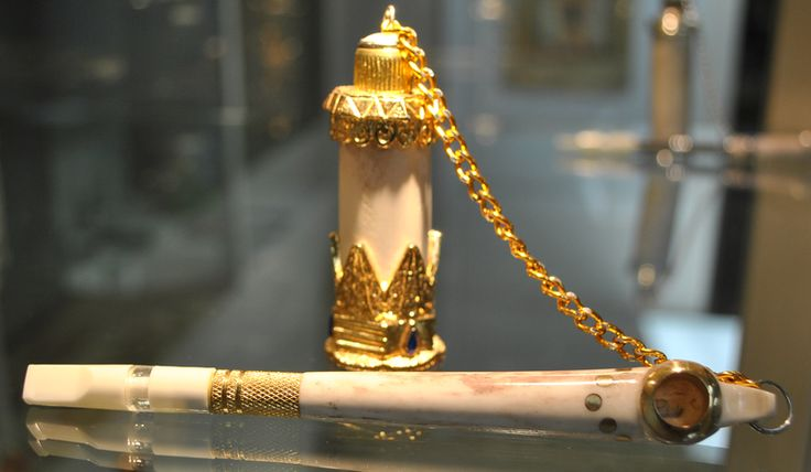 File:Stone Medwakh Pipe with Gold Finishing and Chanta.png
