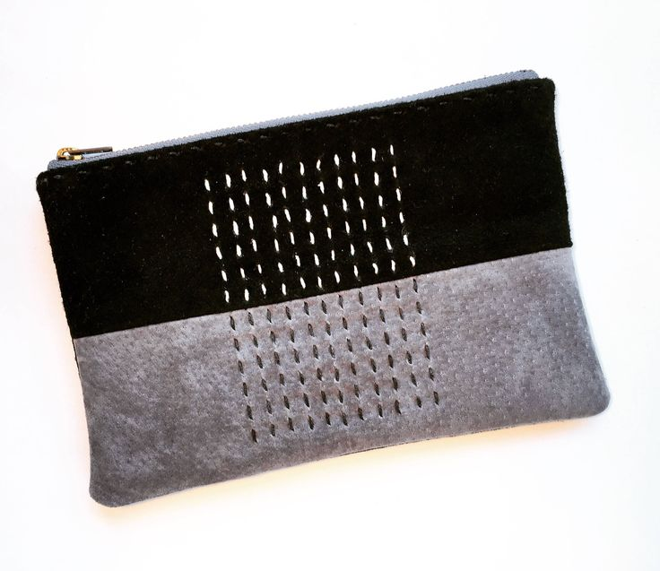 """Thanks for the kind words! ★★★★★ """"Very well made. Perfect size. Love the colours."""" jm248 #etsy #black #grey #sashikopouch #sashiko #leatherpouch #smallpouch #smallcase"""