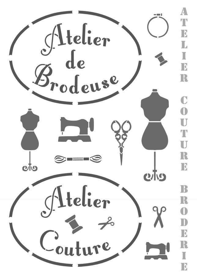 """Pochoir """"Atelier Couture"""" et """"Atelier de Brodeuse"""" en vinyle adhésif repositionnable et semi transparent ce qui rend son utilisation extrèmement facile. Vous pouvez utiliser la totalité du pochoir ou une partie. dimension du pochoir : A4 Je fabrique moi même mes pochoirs d'après mes propres dessins."""