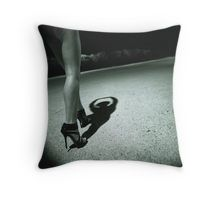 Legs of sexy young lady in high heels with shadow on ground surreal black and white analog silver gelatin photo Throw Pillow