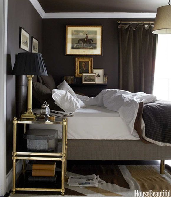 Bedroom Bliss. Charcoal grey walls and drapery, with silver and gold  accents. Interior