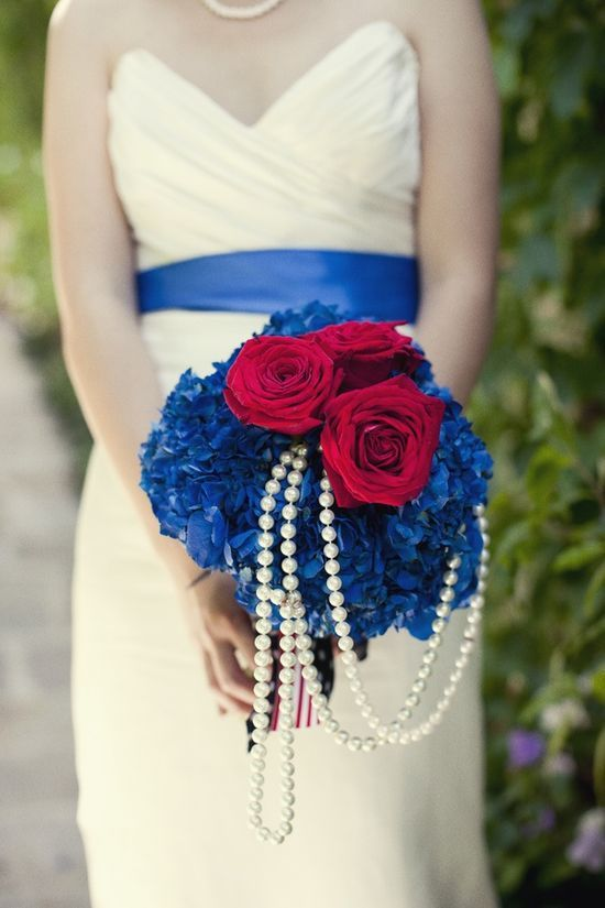 Red White And Blue Wedding Bouquet With Pearls Photo By Http