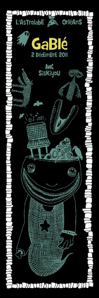 Serigraphie Gablé. 2011. 35 exemplaires. 3 couleurs. Rock art poster. artwork : will argunas