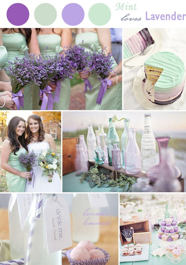 mint and lavender purple wedding colors for 2014 ideas