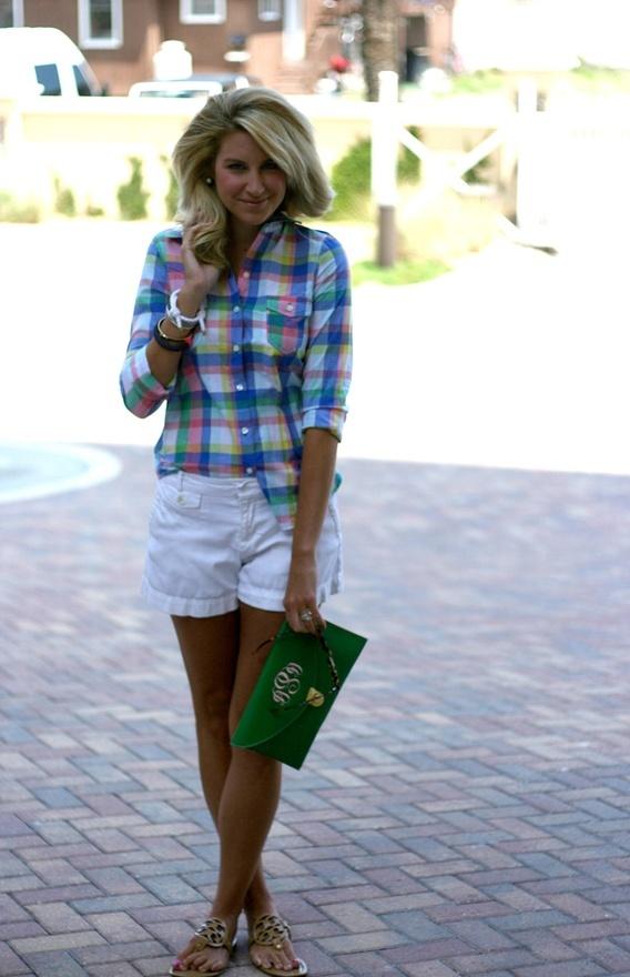 Summer Plaid.Shorts Outfit, White Shorts, Southern Belle, Summer Outfit, Style, Summer Plaid, Plaid Shirts, Southern Prep, Denim Shorts