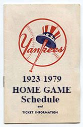 1923-1979 New York Yankees Home Game Schedule Index