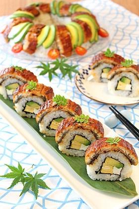 アボカドとクリームチーズの鰻寿司☆