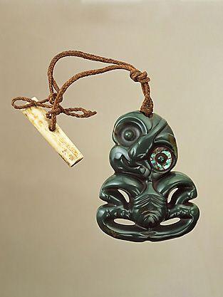 Hei Tiki (pendant) Nephrite (pounamu) H: 10.5 cm New Zealand: Maori 18th century