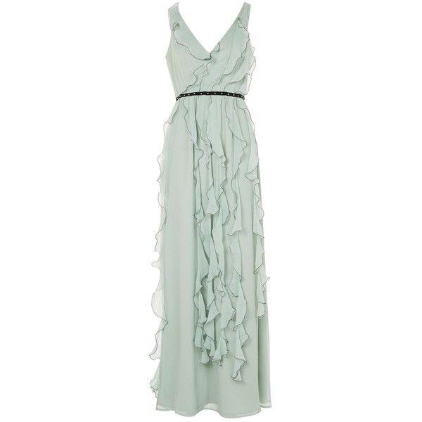 Topshop Ruffle Trim Maxi Dress (9.150 RUB) ❤ liked on Polyvore featuring dresses, mint, flounce dress, frilly dresses, green ruffle dress, mint ruffle dress and flutter-sleeve dress