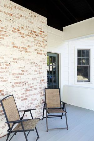 White Brick House Gray Shutters