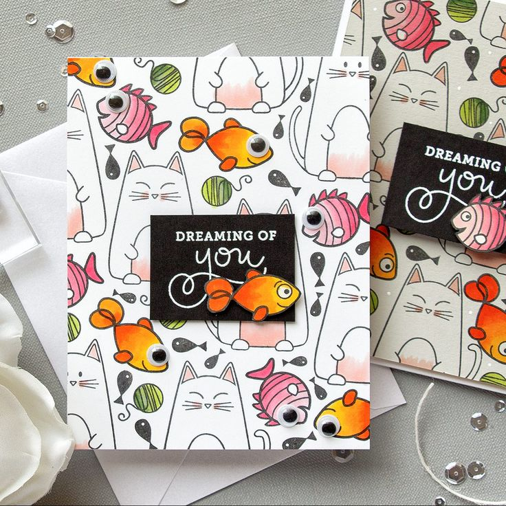 Cat & Fish Stamped Pattern Cards Using Simon Says Stamp Christmas Cats and Best Fishes Stamps