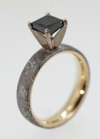 wedding rings made of dinosaur bone meteorite and deer antler - Meteorite Wedding Rings