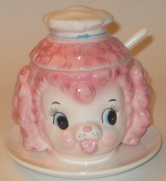 Very RARE Vintage Lefton Pink Poodle Condiment Jam Jar by crazy4me