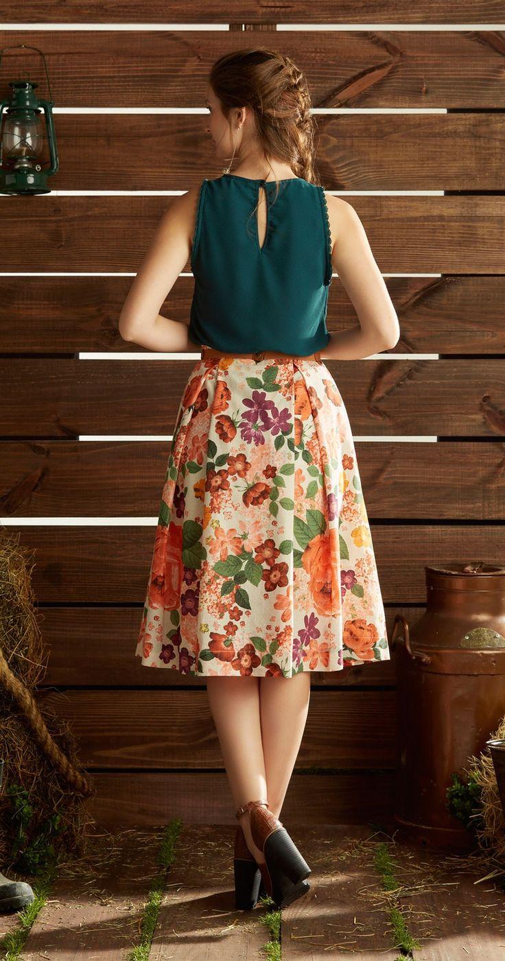Só na Antix Store você encontra Saia Midi Vintage Floral com exclusividade na internet