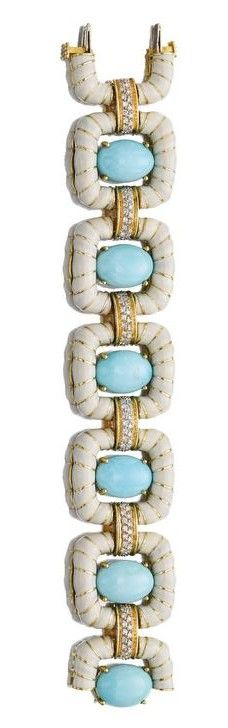 TURQUOISE, ENAMEL AND DIAMOND BRACELET, DAVID WEBB