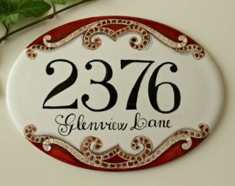 House numbers sign on  handpainted porcelain, mosaic decoration. Address plaque, custom house number sign