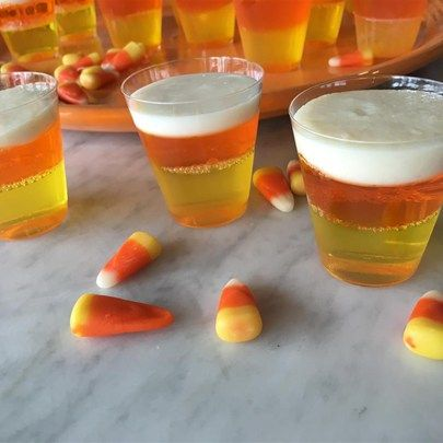 """Halloween Candy Corn Jell-O® Shots I """"The seasonal treat that inspires strong feelings - love 'em or hate 'em - in a boozy shot form."""""""