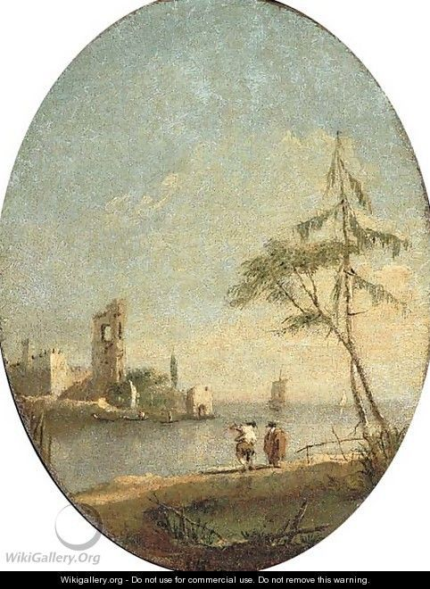 A capriccio of the Venetian lagoon with figures by the shore - Francesco Guardi