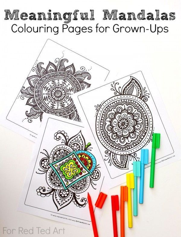 Colouring Pages for Grown Ups - Meaningful Mandalas. Relax and create beautifully coloured Mandalas with this free printable