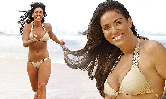 Vicky Pattison slips into a tiny gold bikini for a trip to the beach