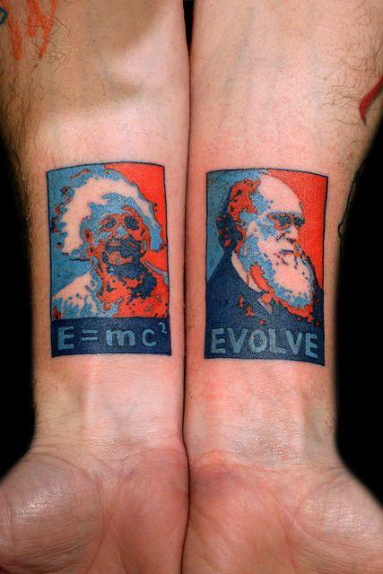 Darwin and Einstein tattoo by Deanna Wardin @ Tattoo Boogaloo, via Flickr