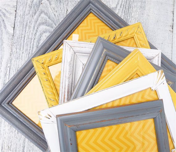 Grey Yellow Picture Frames - Set of 10 Painted Shabby Chic Frames, Vintage Antique White Grey and Yellow on Etsy, $124.00