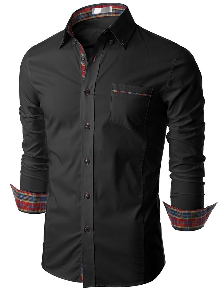 Doublju Mens Long Sleeve Button Down Dress Shirt (KMTSTL0160) #doublju