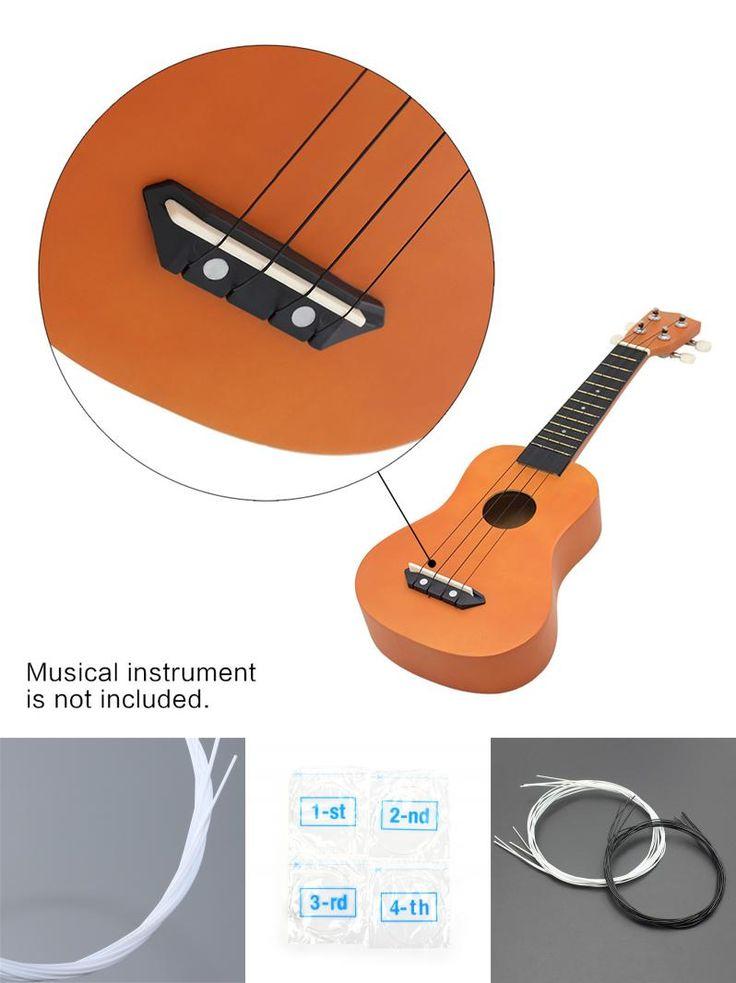 [Visit to Buy] Black/White Ukulele String Guitar 4 Strings Soprano Concert Nylon Hawaii Ukulele Strings #Advertisement