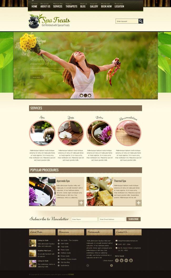 Green mood Spa massage website templates 22