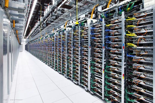 One of Googles massive data centers. The company supports e-mail encryption whenever it can.
