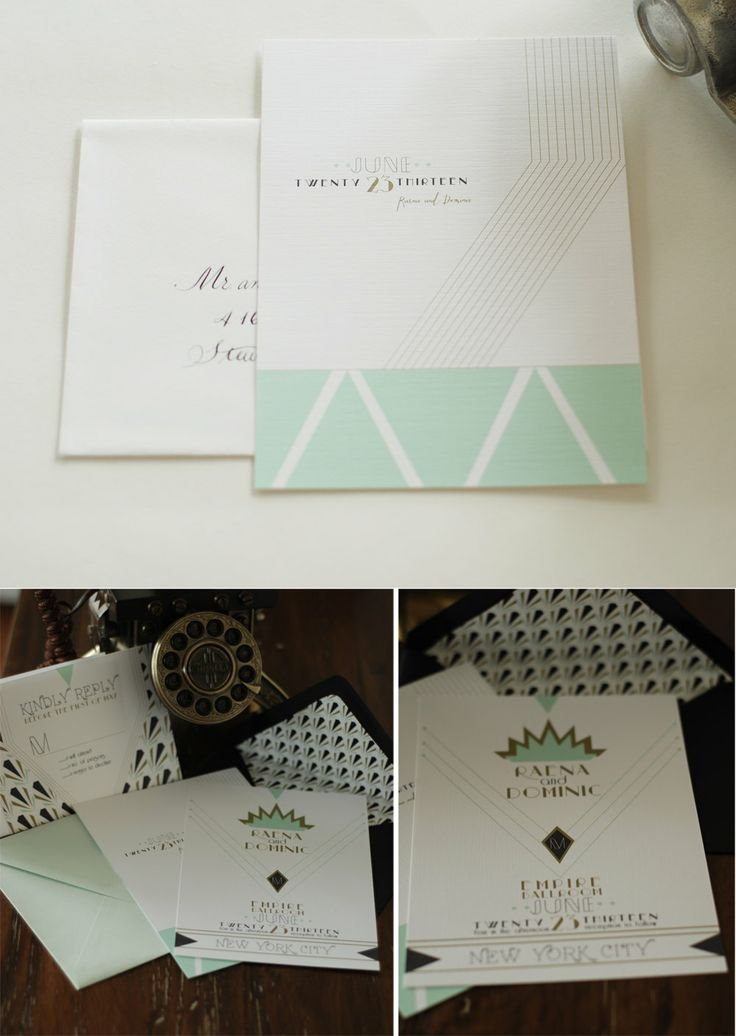 size of response cards for wedding invitations%0A Art Deco Invitation Suite  Invitation  u     Reply Card