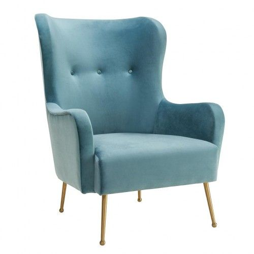 sea blue velvet classic wing chair gold legs