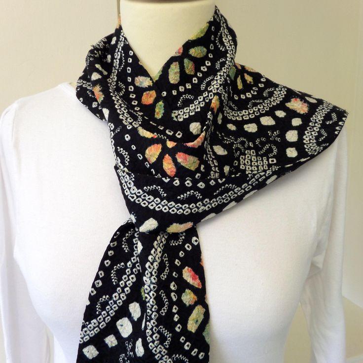"S144 Skinny stylish necktie/scarf ""Firenze""; Japanese wedding kimono shibori silk; 132cm/58""X5.25""; one-off, hand made;fluid comfort by LizzieHuxtable on Etsy"